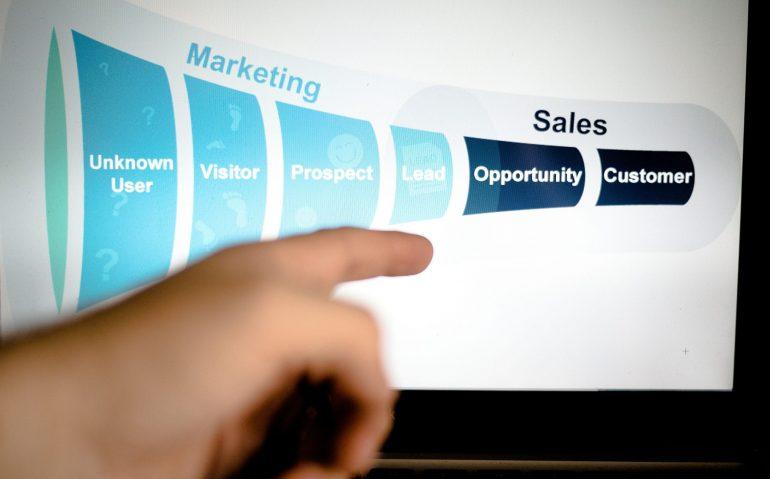 Marketingsalesfunnelinblueshownonacomputermonitor